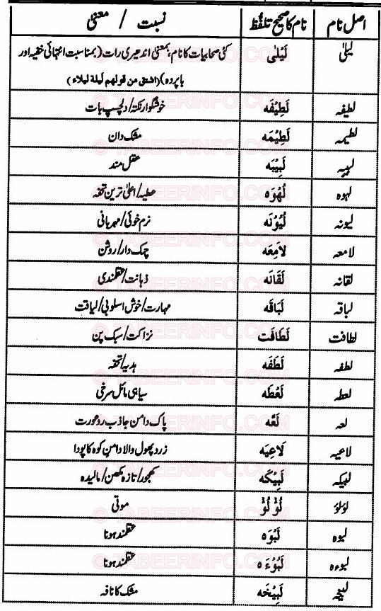 Islamic Names For Girls Starting With Laam - Khwab Ki Tabeer